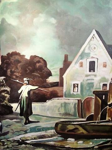Schilderij laat middeleeuws tafereel huis met wacht l m hoebe 20e eeuw klassieke for Schilderij huis voorgerecht